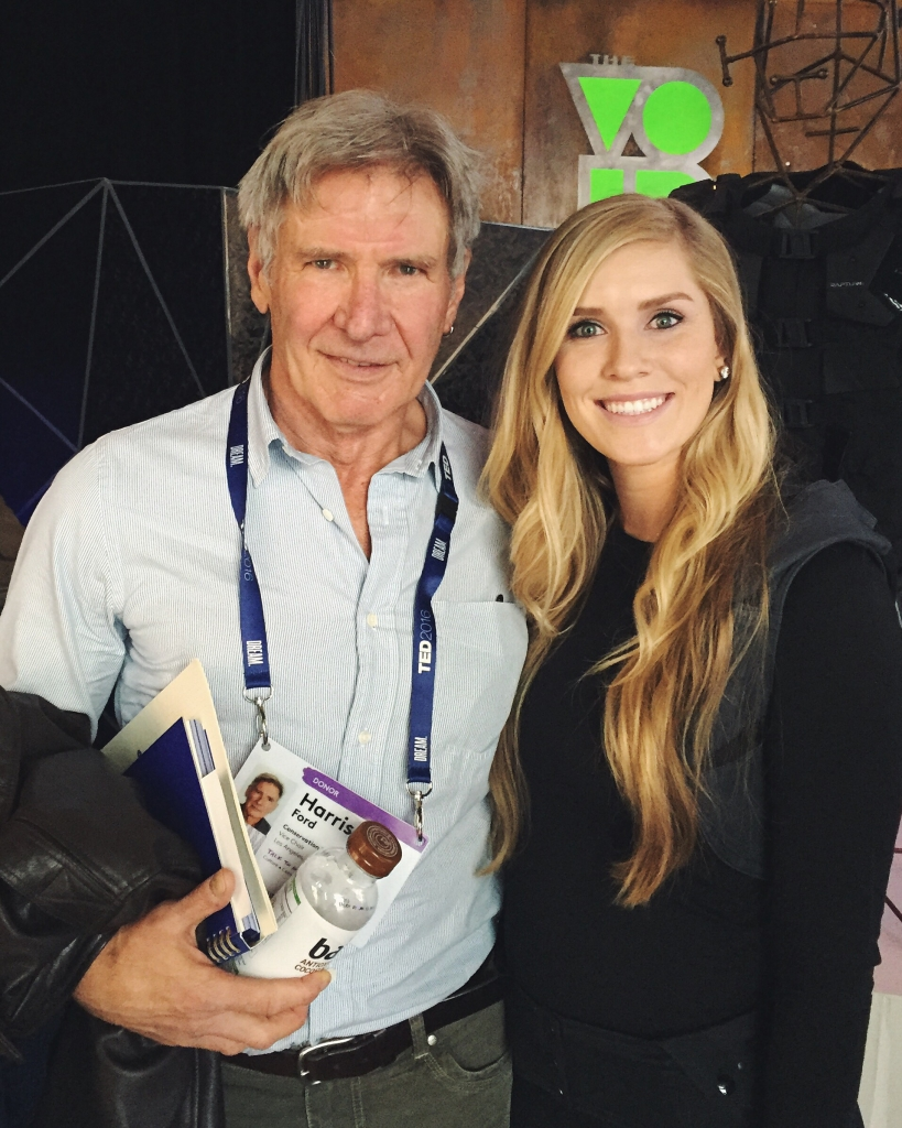 Mikelle Cox with Harrison Ford at TED2016